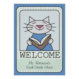 Lectura agradable del gato póster