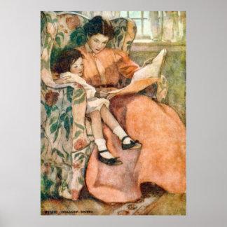 Lectura con la madre en un poster del día lluvioso