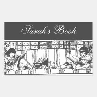 Lectura con la placa de libro del carro pegatina rectangular