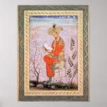 Lectura de Babur, Mughal Póster