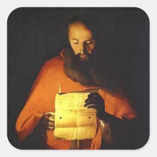 Lectura de Jorte de la Tour- St Jerome Pegatina Cuadrada