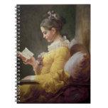 Lectura de la chica joven, c.1776 libro de apuntes