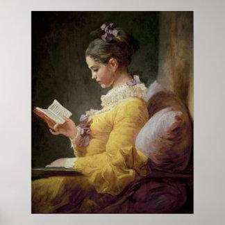 Lectura de la chica joven, c.1776 posters