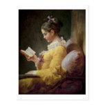 Lectura de la chica joven, c.1776 postal