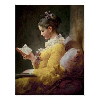 Lectura de la chica joven, c.1776 postales