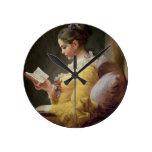 Lectura de la chica joven, c.1776 reloj redondo mediano