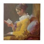 Lectura de la chica joven de Fragonard Azulejo Ceramica