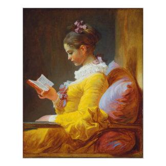 Lectura de la chica joven de Jean-Honore Cojinete