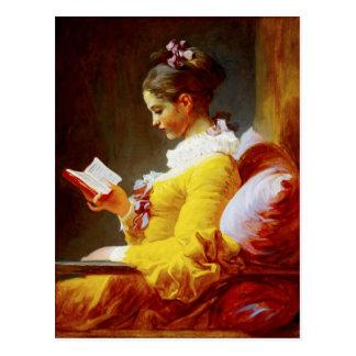 Lectura de la chica joven - pintura del siglo tarjeta postal