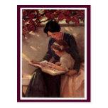 Lectura de la madre y del niño postales