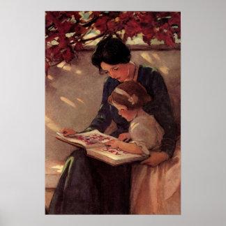 Lectura de la madre y del niño póster