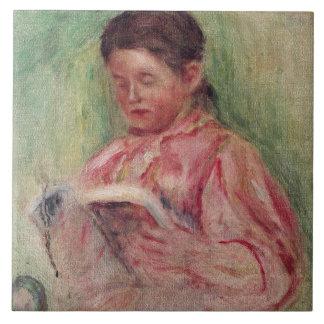 Lectura de la mujer (aceite en lona) azulejo cuadrado grande