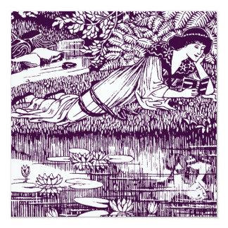 Lectura de la mujer de Nouveau del arte Invitación 13,3 Cm X 13,3cm
