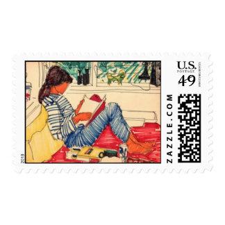 Lectura de la mujer en cama sello