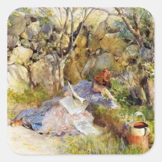 Lectura de la mujer joven en la sombra pegatina cuadrada