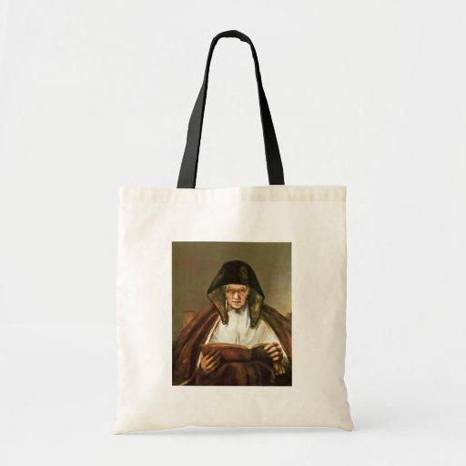 Lectura de la mujer mayor, por Rembrandt Harmensz. Bolsa Lienzo