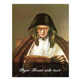 """Lectura de la mujer mayor, por Rembrandt Harmensz. Folleto 8.5"""" X 11"""""""