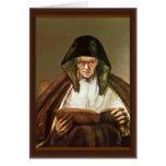 Lectura de la mujer mayor, por Rembrandt Harmensz. Felicitación