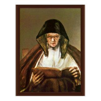 Lectura de la mujer mayor, por Rembrandt Harmensz. Tarjetas Postales