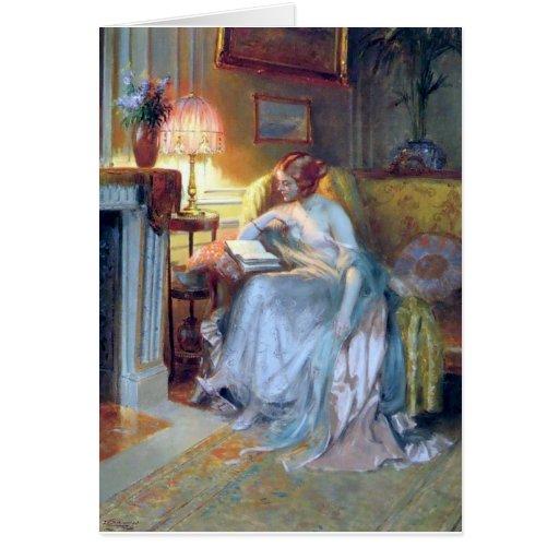 Lectura de la mujer por la pintura de la antigüeda tarjeton