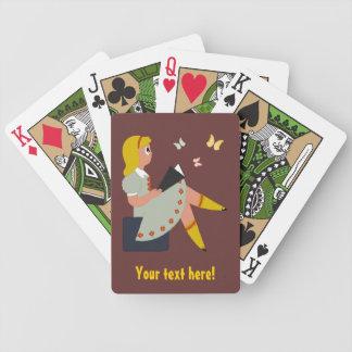 Lectura de la niña baraja de cartas