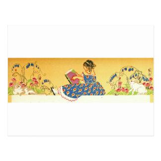 Lectura de la niña con los conejitos postal