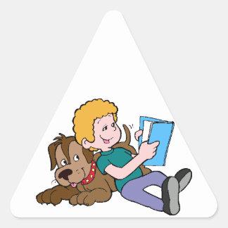 Lectura de los mejores amigos pegatina triangular