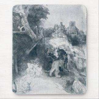 Lectura de St Jerome en un paisaje italiano Tapetes De Ratones