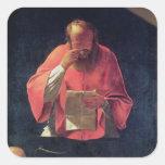 Lectura de St Jerome Pegatina Cuadrada