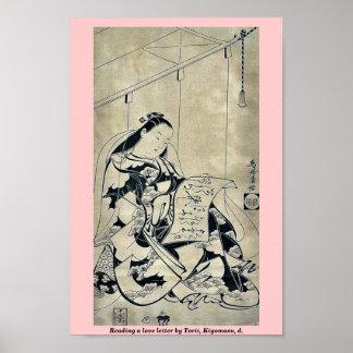 Lectura de una letra de amor por Torii, Kiyomasu,  Poster