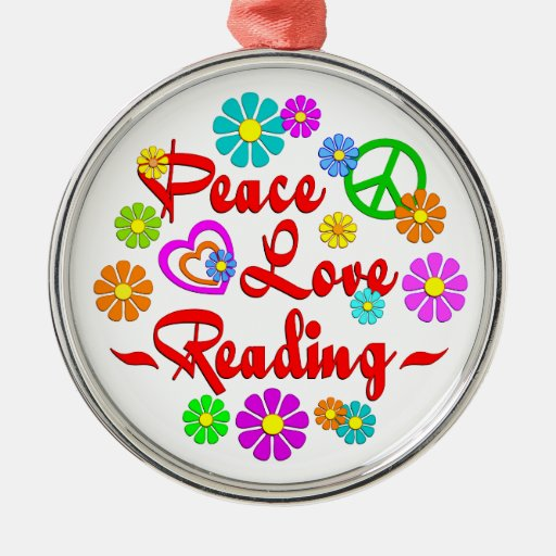 Lectura del amor de la paz adorno redondo plateado