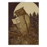 Lectura del búho por claro de luna felicitacion