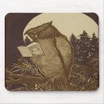 Lectura del búho por claro de luna tapetes de raton