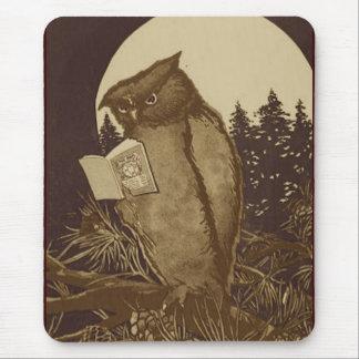 Lectura del búho por claro de luna tapetes de ratón