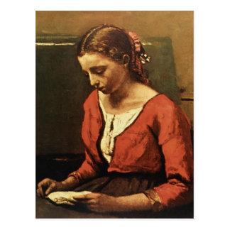 Lectura del chica de Camilo Corot- Postal
