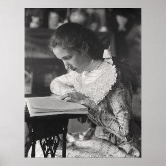 Lectura del chica del Victorian Póster