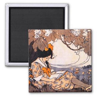 Lectura del chica del vintage debajo de un árbol imanes de nevera
