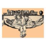 Lectura del chica y del muchacho plantilla de tarjeta de visita