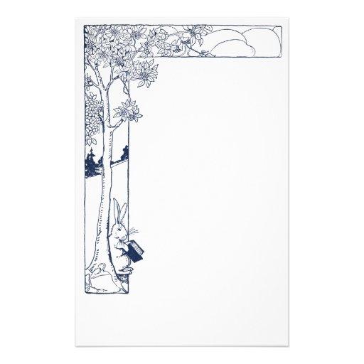 Lectura del conejo debajo del árbol papeleria de diseño