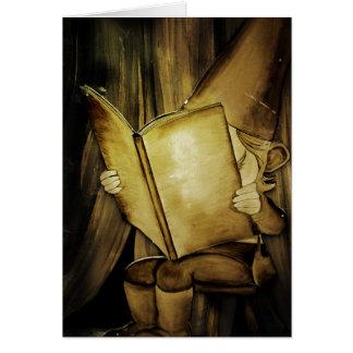 Lectura del duende del navidad del vintage tarjeton