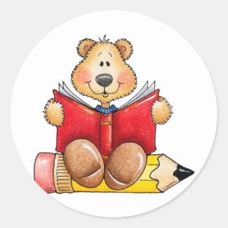 Lectura del oso de peluche pegatinas