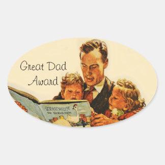 Lectura del premio del papá del padre del padre pegatina ovalada