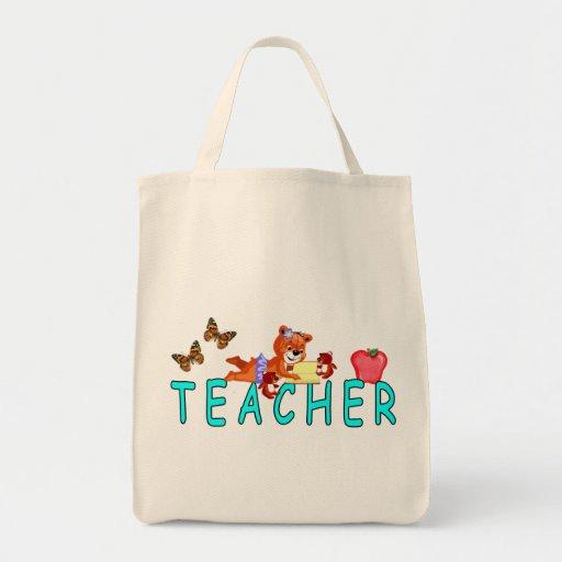 Lectura del profesor bolsa tela para la compra
