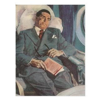 Lectura del viajero de negocios del vintage en el  tarjetas postales