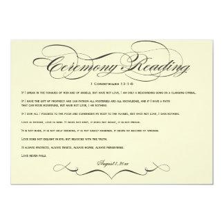 """Lectura elegante de la ceremonia de boda de la invitación 5"""" x 7"""""""