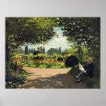 Lectura en el jardín - Claude Monet de Adolfo Mone Posters