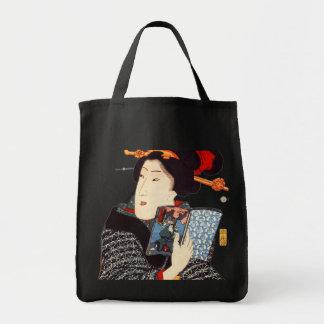 Lectura japonesa de la mujer bolsa tela para la compra