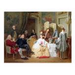 """Lectura """"Manon Lescaut"""" de Prevost del Abbe, 1856 Tarjetas Postales"""