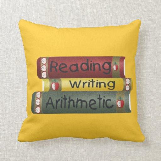 Lectura y escritura y aritmética cojín decorativo