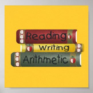 Lectura y escritura y aritmética poster
